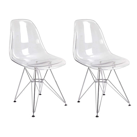 Mod Made MM-SWAC086 Paris Tower Acrylic Side Chair 2-Pack