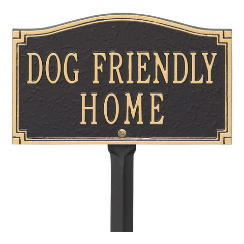 "Whitehall"" Dog Friendly Home, Cast Aluminum, Durable Sign, Black/Gold"