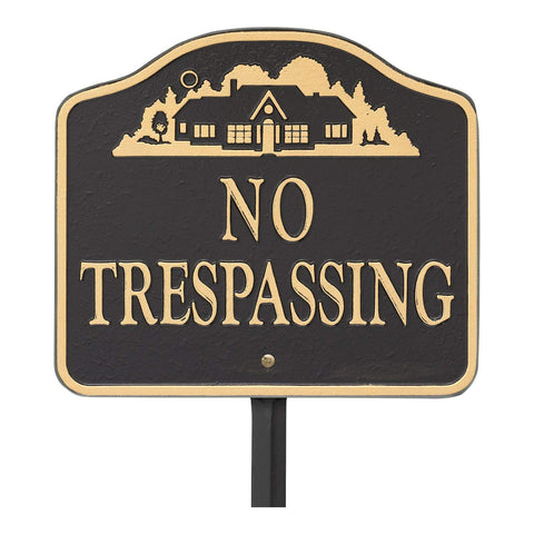 "Whitehall""No Trespassing, Cast Aluminum, Durable Wall Or Lawn Mounting Decorative Home Design Sign, Black/Gold"