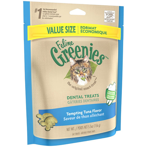 Feline Greenies Dental Treats - Tempting Tuna Flavor - 5.5 oz - Peazz Pet