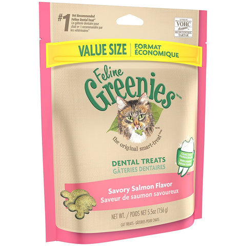 Feline Greenies Dental Treats - Savory Salmon Flavor - 5.5 oz - Peazz Pet