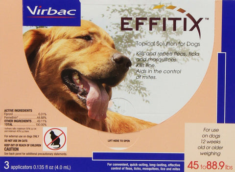 Virbac 18222 EFFITIX Topical Solution For Dogs 4588.9 lbs, 3 Month Supply PINK - Peazz Pet
