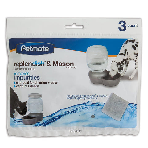 Petmate PTM24989 Replendish Replacement Filters 3 pack with 1 filter strap