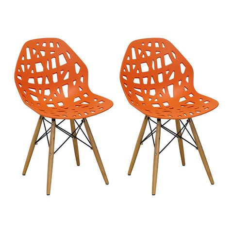 Mod Made MM-SW10004-ORANGE Stencil Cut Out Eiffel Side Chair (Set of 2)