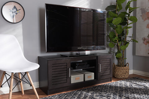 Baxton Studio MH8070-Wenge-TV Gianna Modern and Contemporary Wenge Brown Finished TV Stand