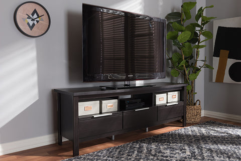 Baxton Studio MH8123-Wenge-TV Elaine Modern and Contemporary Wenge Brown Finished TV Stand