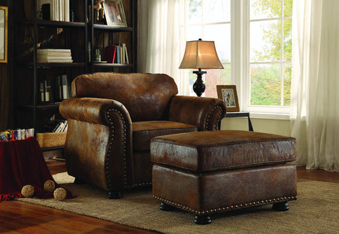 Homelegance 8405BJ-4 Corvallis Collection Color • Brown Bomber Jacket Microfiber - Peazz.com - 1