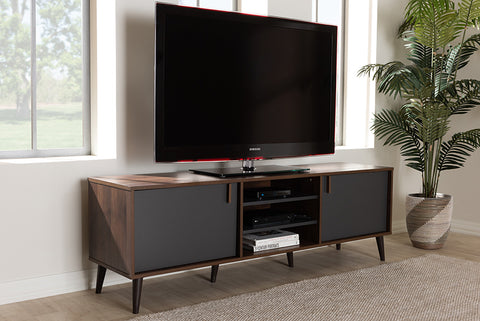 Baxton Studio SE TV9012WI-CLB/DG Samuel Mid-Century Modern Brown and Dark Grey Finished TV Stand