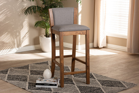 Baxton Studio BBT5300-Grey Tiago Modern and Contemporary Grey Fabric Upholstered Wood Bar Stool Set of 2