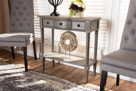 Baxton Studio AGE11-Console Noelle French Provincial Gray Finished 1-Drawer Wood Console Table