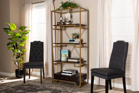 Baxton Studio BG-10232 Cerelia Modern and Contemporary Gold-Tone Steel and Dark Brown Finished Wood 3-Shelf Accent Bookcase with Drawer