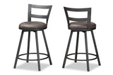 Baxton Studio C1866P-Walnut/Grey-PS Arjean Rustic and Industrial Grey Fabric Upholstered Counter Stool Set of 2