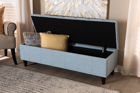 Baxton Studio BBT3162-Light Blue-Otto Brette Mid-Century Modern Light Blue Fabric Upholstered Dark Brown Finished Wood Storage Bench Ottoman