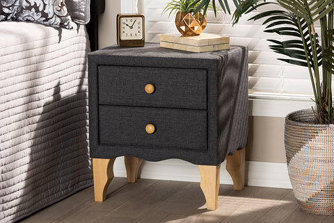 Baxton Studio BBT3154-Dark Grey-NS Artis Modern and Contemporary Charcoal Fabric Upholstered 2-Drawer Wood Nightstand