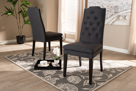 Baxton Studio BBT5158.11-Dark Grey-CC Dylin Modern and Contemporary Charcoal Fabric Upholstered Button Tufted Wood Dining Chair Set of 2