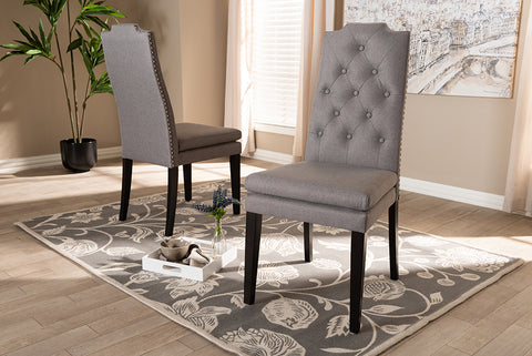 Baxton Studio BBT5158.11-Grey-CC Dylin Modern and ContemporaryGray Fabric Upholstered Button Tufted Wood Dining Chair Set of 2
