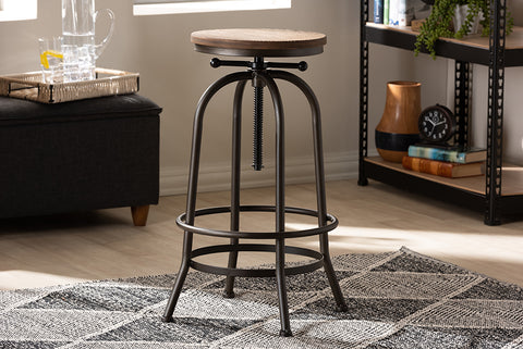 Baxton Studio T-14034-Rust-BS Aline Vintage Rustic Industrial Style Wood and Rust-Finished Steel Adjustable Swivel Bar Stool