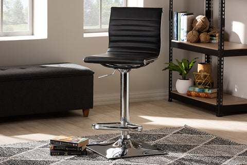 Baxton Studio T-1230-Black-BS Vanni Modern and Contemporary Black Faux Leather Upholstered Chrome-Finished Metal Adjustable Swivel Bar Stool