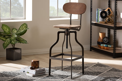 Baxton Studio T-14014-Rust-BS Varek Vintage Rustic Industrial Style Wood and Rust-Finished Steel Adjustable Swivel Bar Stool