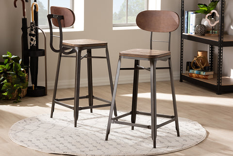 Baxton Studio T-5846-Rust-BS Varek Vintage Rustic Industrial Style Bamboo and Rust-Finished Steel Stackable Bar Stool Set