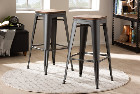 Baxton Studio T-5046-Gun-BS Henri Vintage Rustic Industrial Style Tolix-Inspired Bamboo and Gun Metal-Finished Steel Stackable Bar Stool  Set