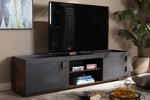 Baxton Studio BR3TV313-Columbia/Dark Grey-TV Rikke Modern and Contemporary Two-Tone Gray and Walnut Finished Wood 2-Drawer TV Stand