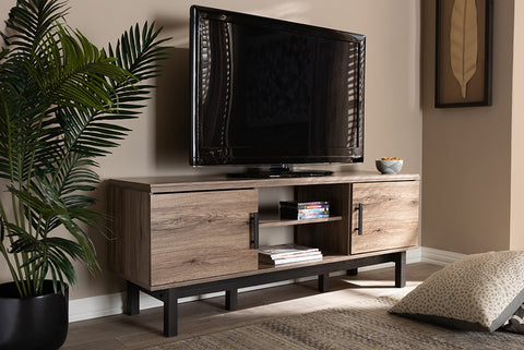Baxton Studio MH8233-Safari Oak/Ebony-TV Arend Modern and Contemporary Two-Tone Oak and Ebony Wood 2-Door TV Stand