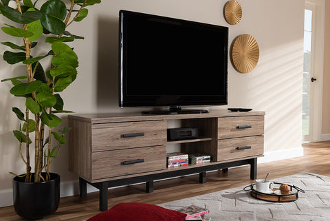 Baxton Studio MH8235-Safari Oak/Ebony-TV Arend Modern and Contemporary Two-Tone Oak and Ebony Wood 4-Drawer TV Stand