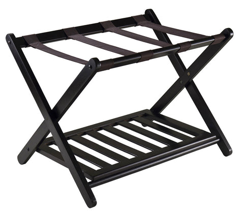Winsome Wood 92436 Reese Luggage Rack with shelf - Peazz.com - 1
