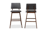 Baxton Studio Colton-Dark Grey-BS Colton Mid-Century Modern Dark Gray Fabric Upholstered and Walnut-Finished Wood Bar Stool Set of 2