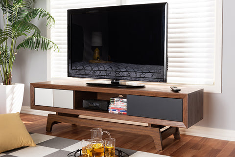 Baxton Studio WI1701-Walnut/White/Grey-TV Svante Mid-Century Modern Multicolor Finished Wood 3-Drawer TV Stand