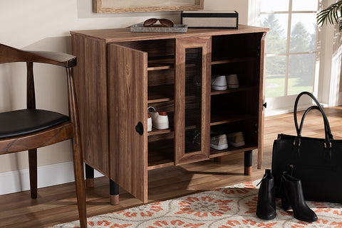Baxton Studio FP-1805-5008 Valina Modern and Contemporary 2-Door Wood Entryway Shoe Storage Cabinet