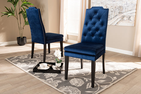 Baxton Studio BBT5158-Navy Blue-DC Dylin Modern and Contemporary Navy Blue Velvet Fabric Upholstered Button Tufted Wood Dining Chair Set of 2