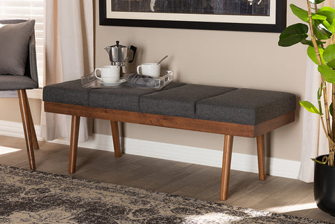 Baxton Studio BBT5364-Dark Grey-Bench Larisa Mid-Century Modern Charcoal Fabric Upholstered Wood Bench