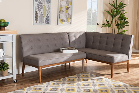 Baxton Studio BBT8051-Grey-2PC SF Bench Arvid Mid-Century Modern Gray Fabric Upholstered 2-Piece Wood Dining Corner Sofa Bench
