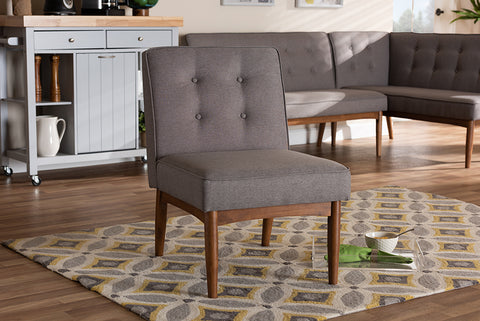 Baxton Studio BBT8051-Grey-CC Arvid Mid-Century Modern Gray Fabric Upholstered Wood Dining Chair