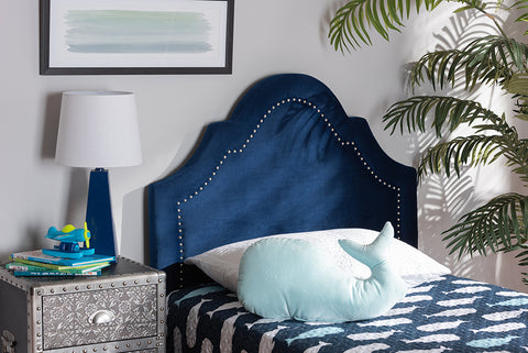 Baxton Studio BBT6567-Navy Blue-HB-Twin Rita Modern and Contemporary Navy Blue Velvet Fabric Upholstered Twin Size Headboard