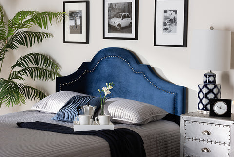 Baxton Studio BBT6567-Navy Blue-HB-King Rita Modern and Contemporary Navy Blue Velvet Fabric Upholstered King Size Headboard