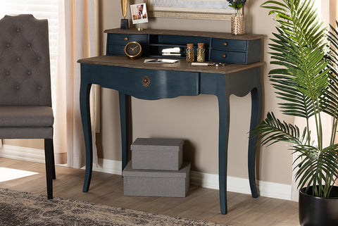 Baxton Studio CES2-Blue Spruce-Desk Celestine French Provincial Blue Spruce Finished Wood Accent Writing Desk