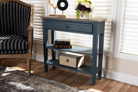 Baxton Studio CHR10VM/M B-C-Blue Spruce Dauphine French Provincial Blue Spruce Fiinished Wood Accent Console Table