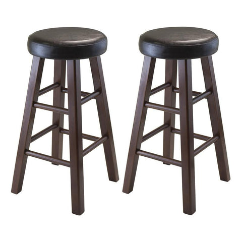 Winsome Wood 94026 Marta Set of 2 Round Counter Stool, PU Leather Cushion Seat, Square Legs, Assembled - BarstoolDirect.com