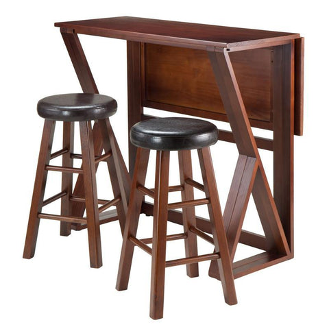 "Winsome Wood 94302 Harrington 3-Pc Drop Leaf High Table, 2-24"" Cushion Round Seat Stools - BarstoolDirect.com - 1"