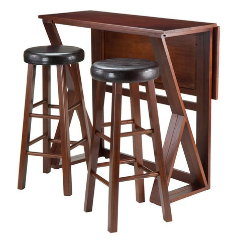"Winsome Wood 94336 Harrington 3-Pc Drop Leaf High Table, 2-29"" Cushion Round Seat Stools - BarstoolDirect.com - 1"