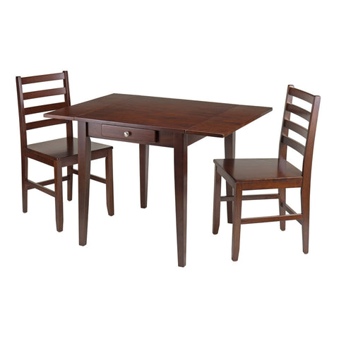 Winsome Wood 94366 Hamilton 3-Pc Drop Leaf Dining Table with 2 Ladder Back Chairs - Peazz.com - 1
