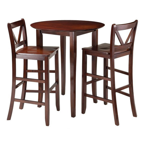 Winsome Wood 94385 Fiona 3-Pc High Round Table with 2 Bar V-Back Stool - BarstoolDirect.com