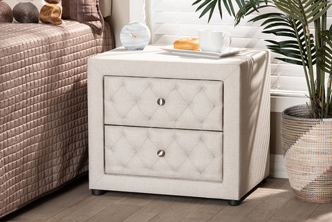 Baxton Studio BBT3164-Light Beige-NS Lepine Modern and Contemporary Light Beige Fabric Upholstered 2-Drawer Wood Nightstand