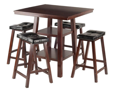 Winsome Wood 94506 Orlando 3-Pc Set High Table, 2 Shelves w/ 4 Cushion Seat Stools - BarstoolDirect.com - 1