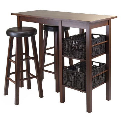 Winsome Wood 94531 Egan 5pc Breakfast Table with 2 Baskets and 2 Swivel Seat PVC Stools - BarstoolDirect.com - 1