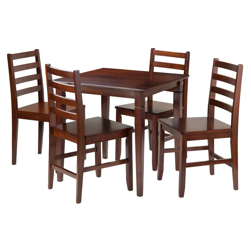 Winsome Wood 94537 Kingsgate 5-Pc Dining Table with 4 Hamilton Ladder Back Chairs