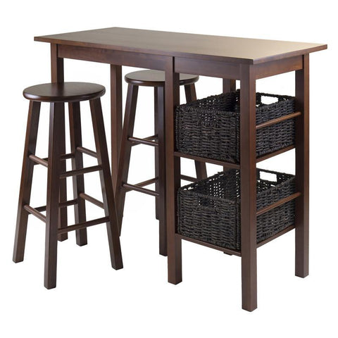 Winsome Wood 94560 Egan 5pc Breakfast Table with 2 Baskets and 2 Stools - BarstoolDirect.com - 1